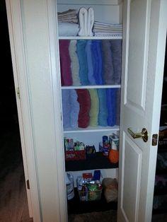 My Newly Organized Linen Closet. Towels Sideways Saved So Much Room!  Jessica Brawley U003d