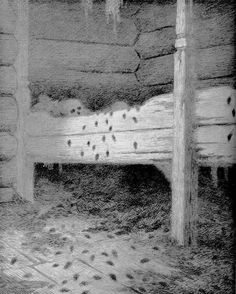Musstad Theodor Severin Kittelsen Date: 1900 Style: Neo-Romanticism Series: Svartedauen Genre: interior Most Popular Artists, Great Artists, Art Database, Black And White Illustration, Romanticism, Nature Paintings, Mythical Creatures, Dark Art, Troll