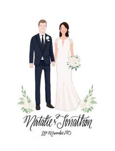 Custom Couple Wedding Portrait & Print by kathrynselbert on Etsy Wedding Cards Handmade, Card Box Wedding, Wedding Card Design, Wedding Invitation Cards, Wedding Stationery, Wedding Designs, Wedding Illustration, Couple Illustration, Wedding Drawing