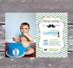 Little Man Mustache Birthday Party Invitation by PartyPrincipessa, $13.00