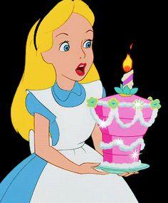 Alice In Wonderland Birthday Cake GIF - AliceInWonderland BirthdayCake BlowingOutCandles - Discover & Share GIFs
