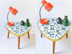 Vintage mosaic table triangle tripod coffee table by MightyVintage