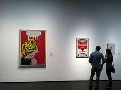 """Couple with Lichtenstein and Warhols"", taken at the LACMA with an iPhone 4 December 2012, printed onto metal, 16"" x 20"".    Roy Lichtenstein's ""Cold Shoulder"", 1963 and Andy Wahol's ""Campbell's Soup Can"" 1964 and ""Small Campbell's Soup Can (Tomato)"" 1962.  This random shot came together with wonderful serendipity; the lighting, the composition, even the positions of the couple.  By far my most favorite photograph ever :)"
