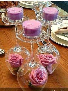 Image result for decoração de casamento com taças e velas