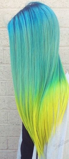 Beautiful blue and yellow hair