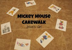 """This Cake Walk was our icebreaker game!  I had taped pictures of Mickey Mouse and friends in a circle on the floor.  The kids walked around on them (listening to Mickey Mouse Clubhouse music of course!).  When the music stopped, we drew a calling card and the winner received a sticker!  This game turned from a Cake Walk to a """"Do the hot dog dance!"""" The kids were so cute!"""