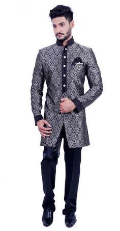 Black Silver Indo Western Sherwani