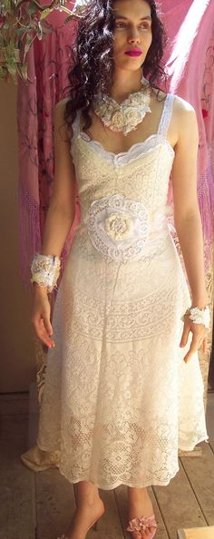Upcycled lace tablecloth dress - MUST MAKE