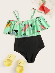 Girls Random Cartoon Flounce One Piece Swimsuit USD Bathing Suits For Teens, Cute Bathing Suits, Cute Swimsuits, Cute Bikinis, Cute Casual Outfits, Summer Outfits, Mode Du Bikini, Bikini Types, Justice Clothing