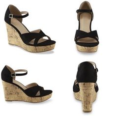 Black Wedge Open toe Sandal Brand new with box!! Cute Sandals for summer!! pair these babes with some cropped jeans or a summer dress! Size 9  -Black wedge open toe heel  -micro suede  - cork wedge -gold buckle  -cushioned footbed  -slip resistant  -3-1/2 in wedge heel -1in platform Shoes Wedges