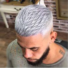 Outstanding Haircuts for Men - Ani Exclusive Afro Hair Dye, Dyed Hair Men, Grey Hair Dye, Ash Blonde Hair, Older Men Haircuts, Cool Haircuts, Hairstyles Haircuts, Guy Haircuts, White Hair Men