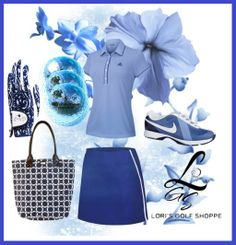 Check out this set in blue, as cool as ice! only at lorisgolfshoppe.polyvore.com #golf #fashion #ootd #lorisgoflshoppe