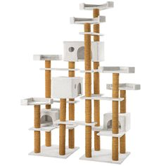 TecTake Cat tree scratching post with 6 viewing platforms and 4 cat houses activity centre 214cm - different colours - (White | No. 402353) >>> For more information, visit image link. #CatsTraining