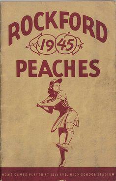 Rockford Peaches Women's Baseball - Rockford, Illinois 1945 Baseball League, Baseball Girls, Baseball Art, Baseball Playoffs, Basketball Tickets, Baseball Stuff, Basketball Games, Rockford Peaches, No Crying In Baseball