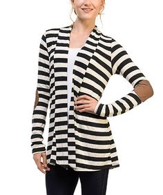 Another great find on #zulily! Charcoal & White Stripe Elbow-Patch Cardigan #zulilyfinds