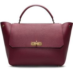 Bally Medium Leather Top Handle Bag In Dark Red ($1,995) ❤ liked on Polyvore featuring bags, handbags, bally bag, purple purse, bally handbag, purple handbags and purple bag