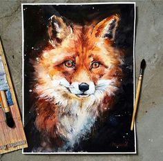 Beautiful fox painting by Anna Mayorovа. on We Heart It Cool Paintings, Animal Paintings, Watercolor Animals, Watercolor Paintings, Fox Drawing, Fox Pictures, Fox Painting, Art Prompts, Fox Art