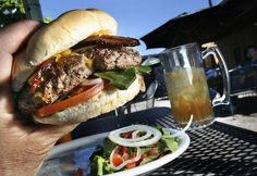 The bacon-cheeseburger at Lucky 13 on 1300 South just west of Spring Mobile Ballpark. Utah-area readers mentioned Lucky13 as one of their favorite burger places in Salt Lake City, Thursday, June 6, 2013. (Scott Sommerdorf   |  The Salt Lake Tribune)