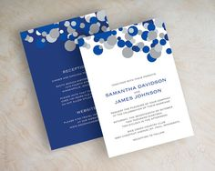 Blue and silver polka dot wedding invitation, sapphire blue, cobalt blue wedding invitations, modern polka dots, blue wedding invite, Kendall v2. By appleberryink, $1.00