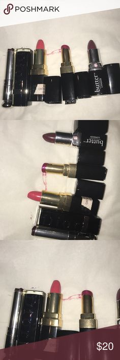 Lipsticks assorted.  Two chanel one dior. Lipsticks assorted.  Two chanel one dior one butter london. CHANEL Makeup Lipstick
