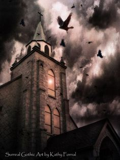 Crow Winter Night | Gothic Surreal Photography, Stormy Winter Night, Gothic Church, Flying ...