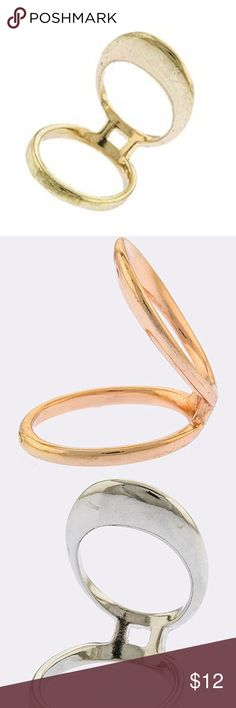 Cool Contemporary Gold Oval Cutout Finger Ring Thisedgy little oval cutout finger ring, is the perfect accent to finishyour trendylook. Available in a polished, gold, silver or rose gold tone. Polished gold tone, available in sizes 7 and 8. Shop boutique for other available colors (polished silver or rose gold)... Bundle your likes to save! Please Do Not hesitate to message me with any questions before purchasing, I want happy satisfied customers!  Features ▪Oval Shape Cutout ▪Approx…