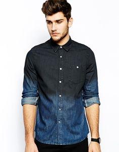 Enlarge ASOS Denim Shirt In Long Sleeve With Dip Dye