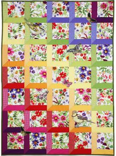 "~free pattern ~ Rainbow attic windows quilt.  ""Verity"" by Marinda Stewart at Michael Miller Fabrics"