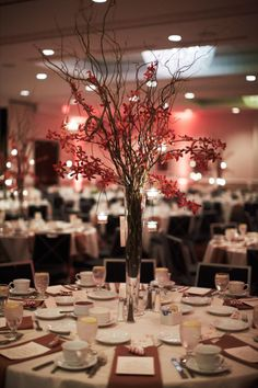 wedding fALL branch centerpieces | Elegant Fall Wedding by Spencer Combs Photography | MN Wedding