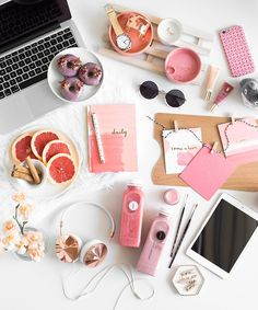 Be Brave pink and peach stationery flatlay, the perfect desk set up in pink!