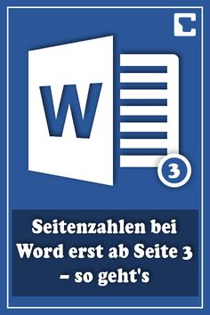 Word page numbers only from page 3 - how it works-Seitenzahlen bei Word erst ab Seite 3 – so geht's # break - Microsoft Office, Microsoft Excel, The Words, Old Computers, Self Assessment, Computer Programming, Word Office, Good To Know, Computers