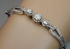 Art Deco Vintage Diamond Platinum Bracelet - Antique Jewelry   Vintage Rings   Faberge Eggs