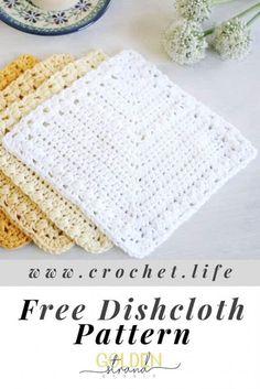 Lullaby Lodge: Dishcloth Crochet Roundup - Six Free Patterns to Make + Free Bonus Pattern Six adorable crochet dishcloth patterns to make, plus free bonus pattern. Crochet Potholders, Crochet Squares, Crochet Blanket Patterns, Dishcloth Crochet, Crochet Dishcloths Free Patterns, Wash Cloth Crochet Pattern, Crochet Scrubbies, Doilies Crochet, Skirt Patterns