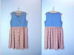 80s floral denim dress  CALICO babydoll dress  by SnapVintage, $27.00