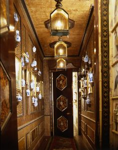 Tortoise shell and mother of pearl inlay, door. Back hall in NY apartment of Howard Slatkin