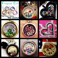 Look at all these cute ideas for Origami Owl Living Lockets! I am officially an O2 designer so contact me today to tell your story through jewelry! Let me help you design your own original piece or a gift for someone else! www.queenbsdowry.origamiowl.com