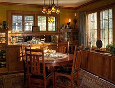 Craftsman/mission/arts & crafts dining room with wood radiator cover -- Architecture & Interior Design: David Heide Design Studio -- Photo: Karen Melvin