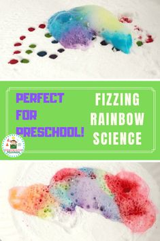 Want to know what happens when baking soda and vinegar are combined? Try the fizzing rainbow experiment perfect as toddler science and preschool science experiments! Rainy Day Activities For Kids, Science For Toddlers, Science Experiments For Preschoolers, Preschool Science Activities, Preschool Activities, Science Fun, Preschool Printables, Summer Activities, Rainbow Baking