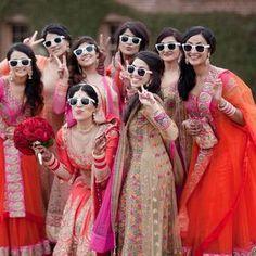 Indian bridesmaids inspiration - Indian dekho ye he hawa Hawaii grup me chat pate ladkiyabride - photoshoot - sunglasses - modern Sikh Wedding, Wedding Poses, Wedding Shoot, Wedding Couples, Wedding Ideas, Wedding Ceremony, Haldi Ceremony, Vogue Wedding, Trendy Wedding