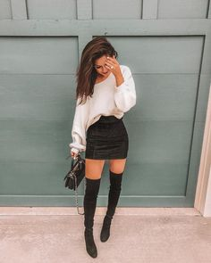 More-Beautiful/ ootd winter, winter club outfits, winter night outfit Go Out Outfit Night, Winter Night Outfit, Girls Night Out Outfits, Outfits For Vegas, Party Outfit Winter, Classy Party Outfit, Vegas Outfit Night, Clubbing Outfits Classy, Over The Knee Boot Outfit Night