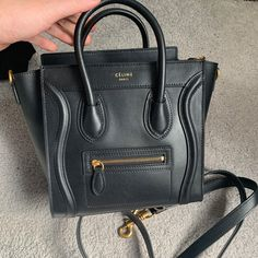 eeeebc7a2c5 Details about Authentic CELINE PARIS MINI LUGGAGE Handbag In Natural Black  Calfskin And Brown