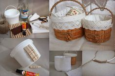 Fantastic upcycling tutorial to make a basket out of a plastic tub. Home Crafts, Diy And Crafts, Arts And Crafts, Creation Deco, Diy Box, Diy Tutorial, Projects To Try, Homemade, Crafty