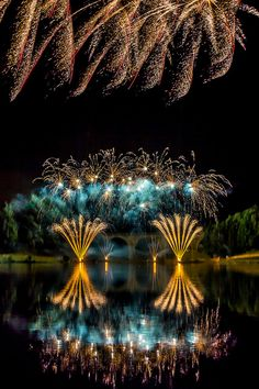 A spectacular fireworks display over the Lake at Saint-Yrieix-la-Perche in France.