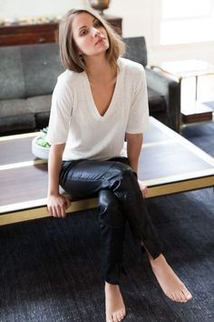 vneck white shirt and leather pants