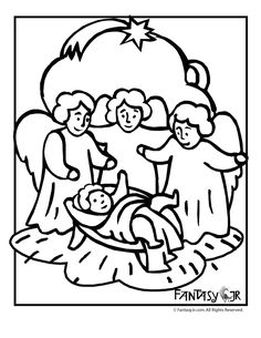 Christmas Angel Coloring Pages Angels With Baby Jesus Fantasy Jr