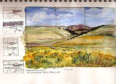 Watercolor Sketch - Yellowstone, Hayden Valley by Steve Penberthy, via Flickr