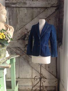 1970s fitted denim jacket 70s jean jacket size by melsvanity, $36.00