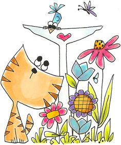 Whipper Snapper Designs is an expansive online store selling a large variety of unique rubber stamp designs. Cat Coloring Page, Mail Art, Cute Illustration, Digital Stamps, Fabric Painting, Cartoon Art, Doodle Art, Folk Art, Art Lessons