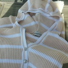 Chico Hoodie Sweater Hooded Sweater by Chico's Cream & White Stripped. Size xsmall to small, NO tears, snags, rips or stains, in great shape. Taking offers Chico's Sweaters V-Necks