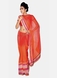 Preferable Georgette Orange Designer Saree Indian Wedding Sari, Bollywood Wedding, Saree Wedding, Blouse Online, Sarees Online, Desiner Sarees, Indian Sarees, Pakistani, Saree Dress